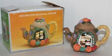 Vtg Cute Holiday Teapot with Singing Christmas Mice - Faux Teapot - Mib