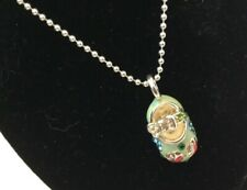 Sterling Silver 925 Enamel & Rhinestone Baby Shoe Pendant and Silver Necklace