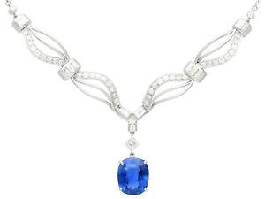 "Vintage 13.50 ct Ceylon Sapphire and 3.27 ct Diamond, Platinum Necklace 18"""
