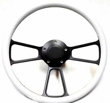 Hot Rod Street Rod Rat Rod White, Black Billet Steering Wheel Ididit Columns