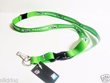 Seattle Seahawks Green Lanyard Detachable Keychain Badge Holder NFL Licensed