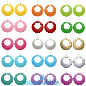 Bluebubble DISCO FEVER Large Round Hoop Drop Earrings Kitsch 60s 70s 80s 90s Fun
