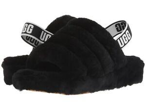 Women's Shoes UGG FLUFF YEAH SLIDE Sheepskin Slipper Sandals 1095119 BLACK