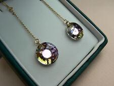 9ct gold chain drop earrings, pink Light Vitrail Swarovski elements sun crystals