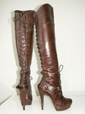 RIVER ISLAND over the knee leather platform boots uk 4 eu 37 rare boots!!