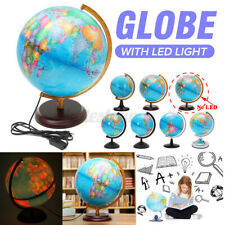 Rotating Rolling Stand Vintage World Globe Earth Map Geography LED Night  *##