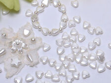 T256 White Pearl Heart Beads Wedding Dress Bridal Jewellery Making 6mm 200pcs
