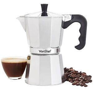 VonShef Coffee Percolator Moka Pot Stove Top Italian Style Espresso Maker 6 Cup