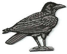 Raven - Crow - Bird - Corvus - Embroidered Black/Gray Iron On Patch - R