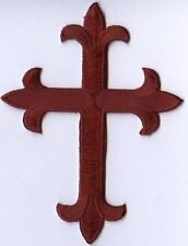 Iron On Applique Embroidered Patch Religious Fleur de lis Cross Burgundy Maroon