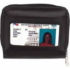 Genuine Leather Accordion Wallet, Womens Slim Zipper Coin Purse Girl Clutch Case