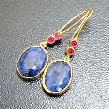 Turkish Ancient Handmade Jewelry Sapphire and Ruby Earring 925K Sterling Silver