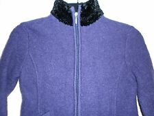 BJ Collection Ladies Jacket in Purple Wool with Black Trim Size Small