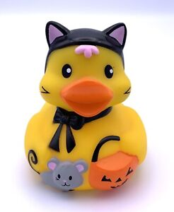 """Infantino Halloween Rubber Duck Bath Toy Squeaks Cat Mouse Jack O Lantern 3.5"""""""