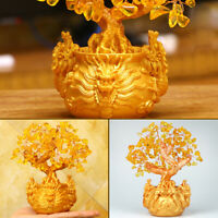 Yellow Crystal Fortune Dragon Wealth Tree Lucky Money Ornament Home Office Decor
