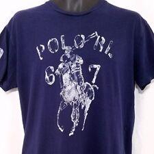 Polo Ralph Lauren T Shirt Vintage 90s Giant Pony Crew Neck Blue Size Small