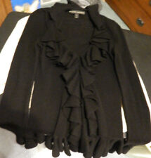 Ralph Lauren Black Label sz small black Frilly 100% Cashmere Cardigan
