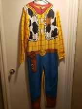 Adult Disney Toy Story Woody One Piece Zip Up Costume Pajamas Large