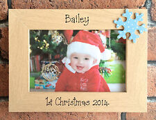 Handcrafted personalizzata Baby 1st NATALE Photo Frame Regalo Blu Rosa Rosso