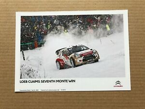 2013 Citroen DS3 WRC Press Photograph - Sébastien Loeb - Monte Carlo Rally