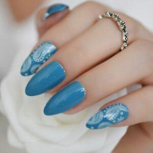 Women Stilleto Sharpen Fake Nails Coral Patterned Full Fingernails Manicure Tips