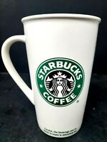 Starbucks 2005 Mug Tall White Ceramic Coffee Cup with Mermaid Logo 16oz