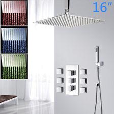 "Luxury 16"" LED Shower Head Bathroom 6 Massage Jets & Hand Spray Mixer Tap Faucet"