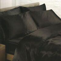 satin noir housse couette simple, Drap housse, 2 x Taie d'oreiller Set