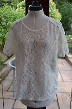 MONSOON SIZE 12 BNWT IVORY LACE SUMMER TOP WITH STRETCH
