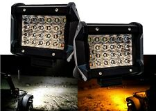 "4"" Dual Color White Amber LED POD light Flash Strobe OFFROAD Truck SUV ATV 12V"