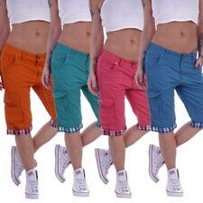 Damen Capri Shorts Cargo Hose Jeans Hüftjeans Boyfriend Pump 3/4 Taschen B138
