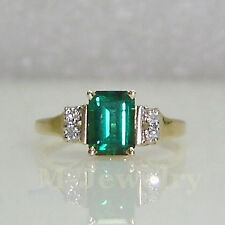 Estate Genuine Diamond Natural Russia Green Emerald Solid 14k Yellow Gold Ring