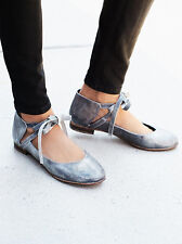 New $98 Free People Flat Atlas Silver Flats Suede Lace Up sz 9 Sold Out!!!