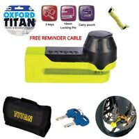 Oxford OF51 Titan Strong And Reliable Disc Lock - Yellow Motorcycle  Free Cable