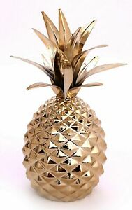 Pineapple Ornament Sculpture Metal Ceramic Glazed Fruit Decor Gift Gold 22cm