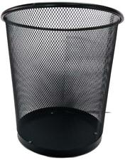 New Mesh Trash Garbage Basket Black Office Kitchen Bedroom Waste Bin Steel