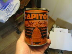 Nice Old Capitol Super Quality Grease 1 Lb. Tin Can Oil Petroleum Great Graphics
