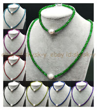 2x4mm Faceted Rondelle Mixed Beads & 8-9mm White Pearl Necklace Bracelet Set