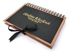 A5 PERSONALISED KRAFT BROWN BLACK GOLD FOIL PRINTED WEDDING GUEST BOOK RIBBON