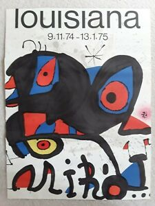 "Original MIRO 1974 Louisiana Exhibition Lithograph Poster - 24"" x 18"" - TRIMMED"