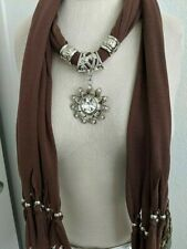 Pendant Jewelry Scarf Charm Bohemian Necklace Scarves Stole Shawl Scarfs NWOT