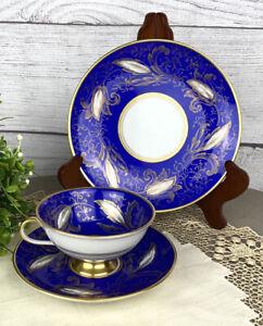 Vintage  Furstenberg Porcelain Gold Cobalt Blue Cup Saucer & Dessert Plate Trio