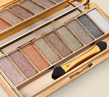9 Colors Shimmer Eyeshadow Eye Shadow Palette & Makeup Cosmetic Brush Set NEW#6