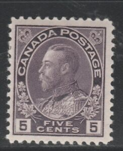 CANADA  # 112 F- VF-MH  5cts 1922 KGV ADMIRAL ISSUE /VIOLET CAT VALUE $60