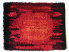 Scandinavian Rya Rug ABSTRACT Mid Century Orange Red Black Danish / Swedish