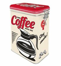 Retro STRONG COFFEE Served Here CLIP TOP STORAGE TIN Cookie Jar