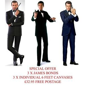 3 X 6FT CANVASES JAMES BOND 007 SEAN CONNERY ROGER MOORE PIERCE BROSNAN XMAS LTD