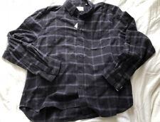 Steven Alan Men XXL BLACK CHECKERED Button Front Long Sleeve Shirt Cotton