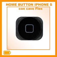 TASTO HOME PULSANTE CENTRALE CURSORE FLAT FLEX PER APPLE IPHONE 5 NERO BLACK