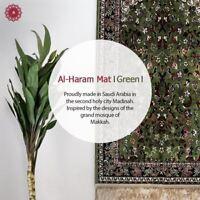 Al Haram Luxury Pray Mat with Gift Bag Green Madina Prayer Rug 110x70